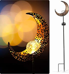 StarryMine Solar Powered Moon Garden Lights Waterproof, 1 Pack Accent Brass Hollow-Carved Metal Moon Crackle Glass Stake Lights, for Outdoor Indoor Lawn, Patio, Yard, Pathway