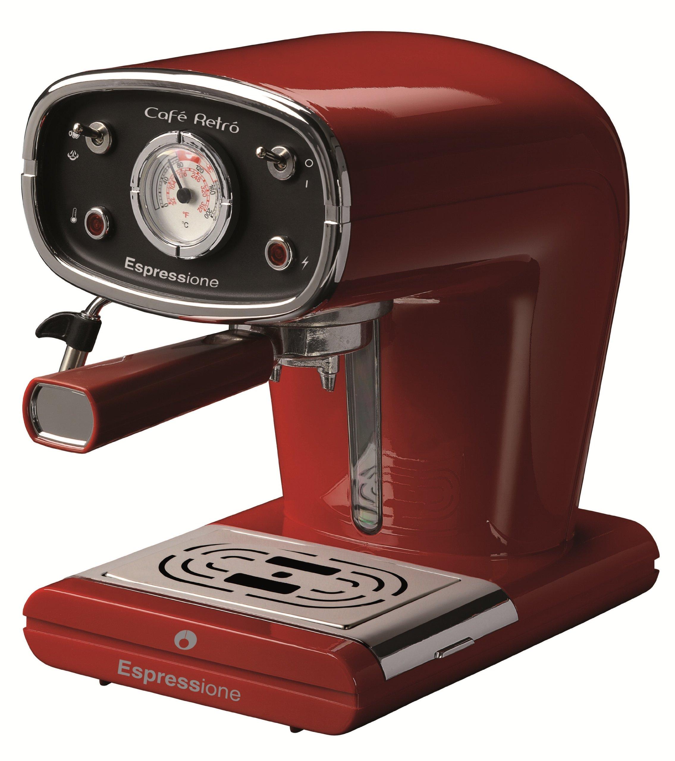 Espressione-Ariete (a company of De'Longhi Group) New Café Retro Espresso Machine, Red