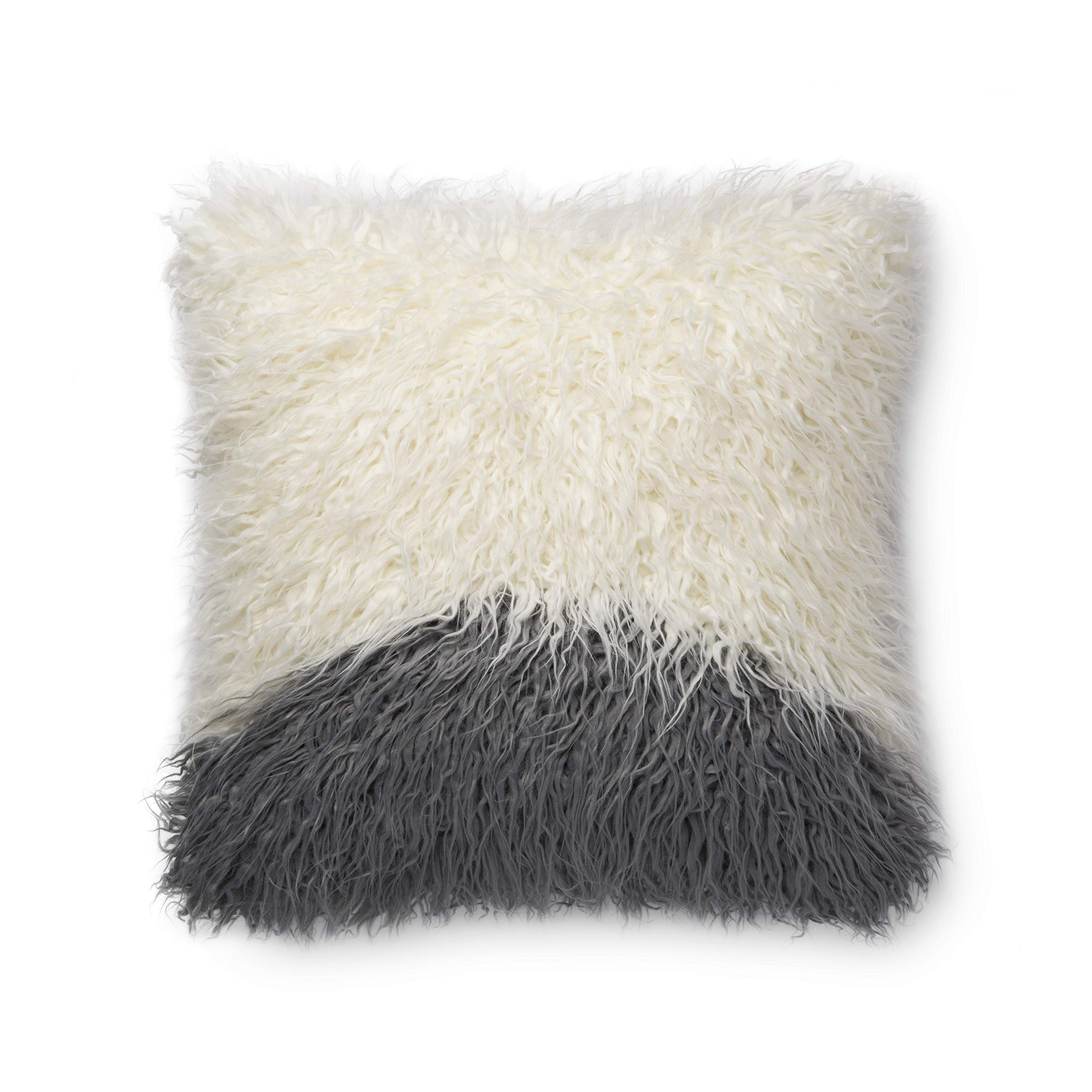 Now House by Jonathan Adler Faux Mongolian Fur Pillow, Grey and White