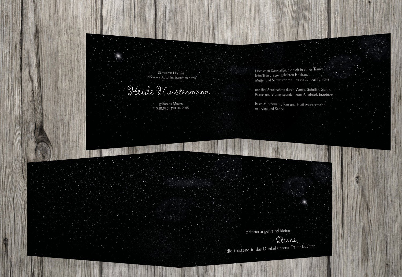agradecimiento luto Starry Sky, negro, 30 Karten