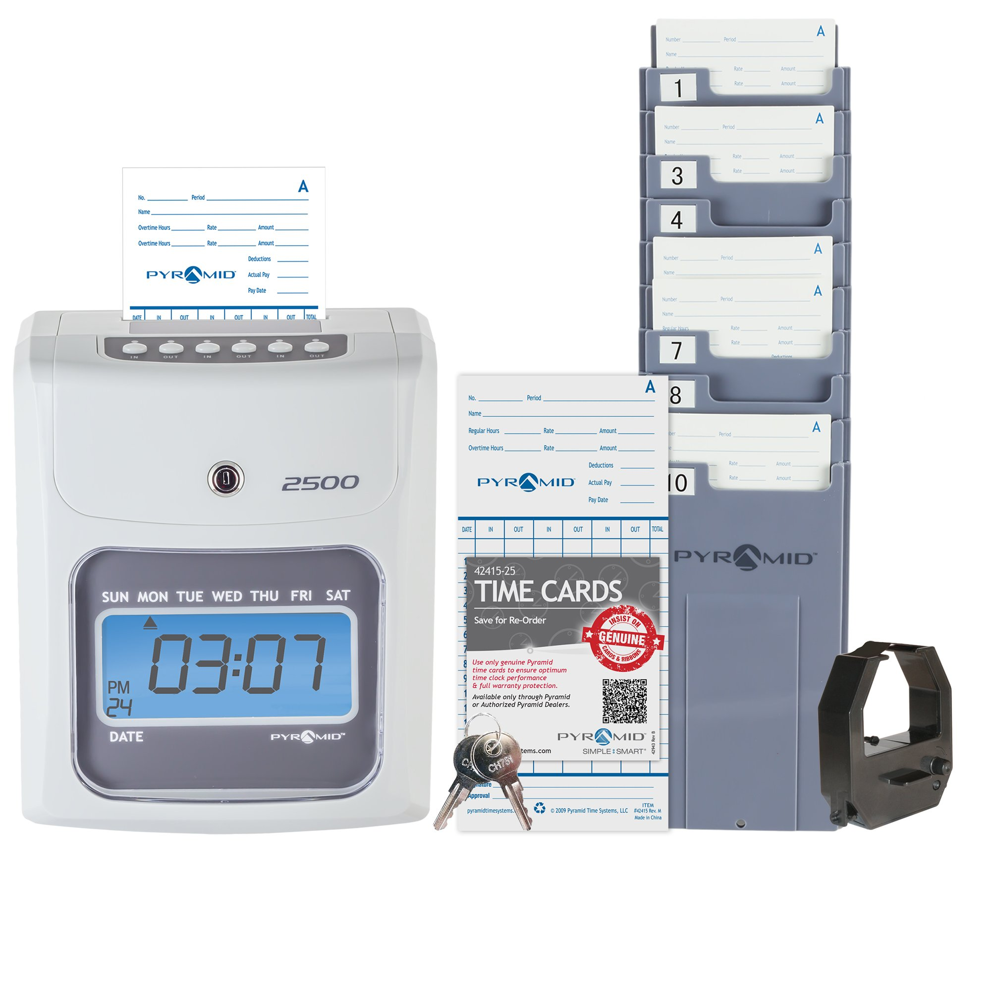 Pyramid 2500 Time Clock Bundle with 100 Time Cards, Card Rack and Ribbon - No Employee Limit