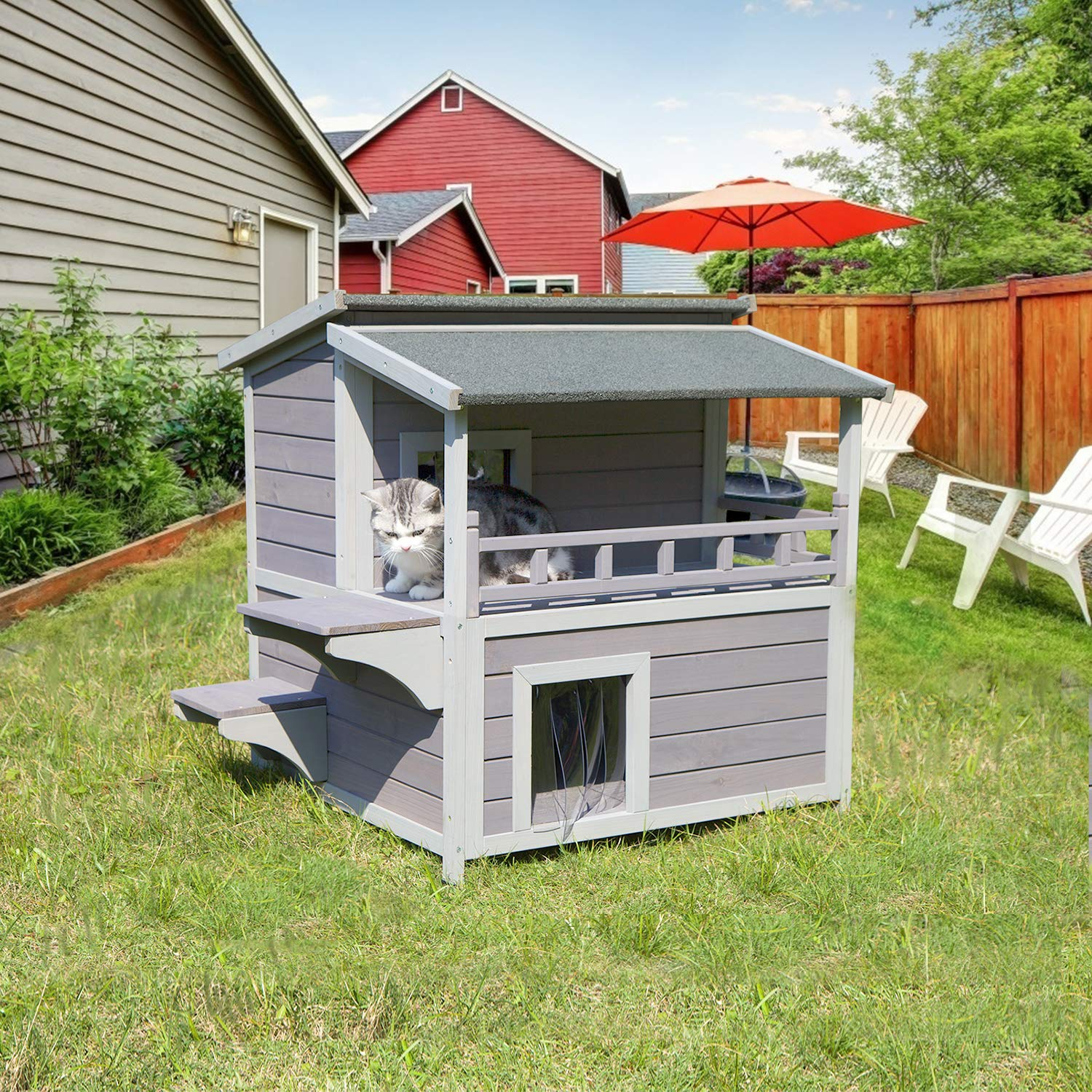 Aivituvin 2 Story Cat House Enclosure With Large Balcony Indoor Cat Condo Outdoor Cat Shelter Wooden Kitty Home With Pvc Door Strip Buy Online In Japan At Desertcart Jp Productid 209907008
