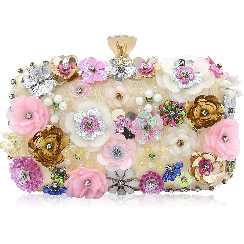 Milisente Women Clutches Colorful Flower Evening Bag Sequins Satin Evening  Clutch  Handbags  Amazon.com cc846423cd5b
