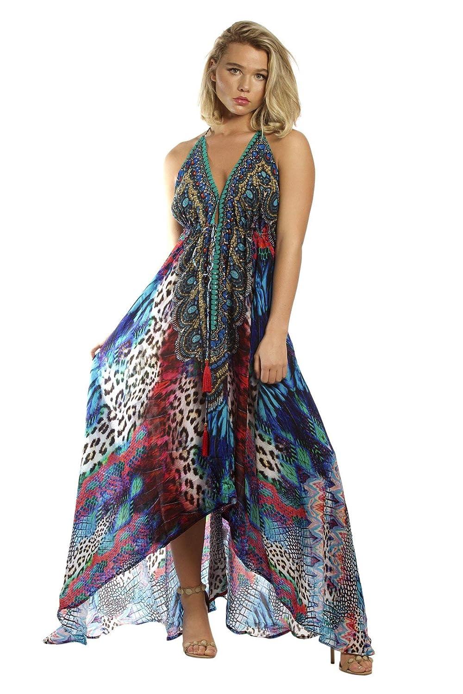 335e8110e5 La Moda Clothing Animal Print Backless High End Resortwear Silk Dress |  Designer Deep V-Neck Resort Wear| by GOGA Swimwear at Amazon Women's  Clothing store: