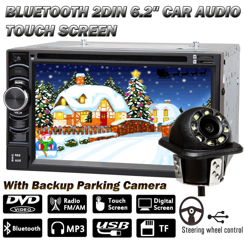 2017最新アップグレードバージョン2 DINカーステレオタッチ画面オーディオDVDプレーヤーダブルDIN Bluetoothワイヤレスリモート+背面バックアップカメラ – 2年保証 B077GSFDVZ