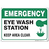 "Emergency Eye Wash Station Sign, Large 10x7"" Aluminum, For Indoor or Outdoor Use - By SIGO SIGNS"