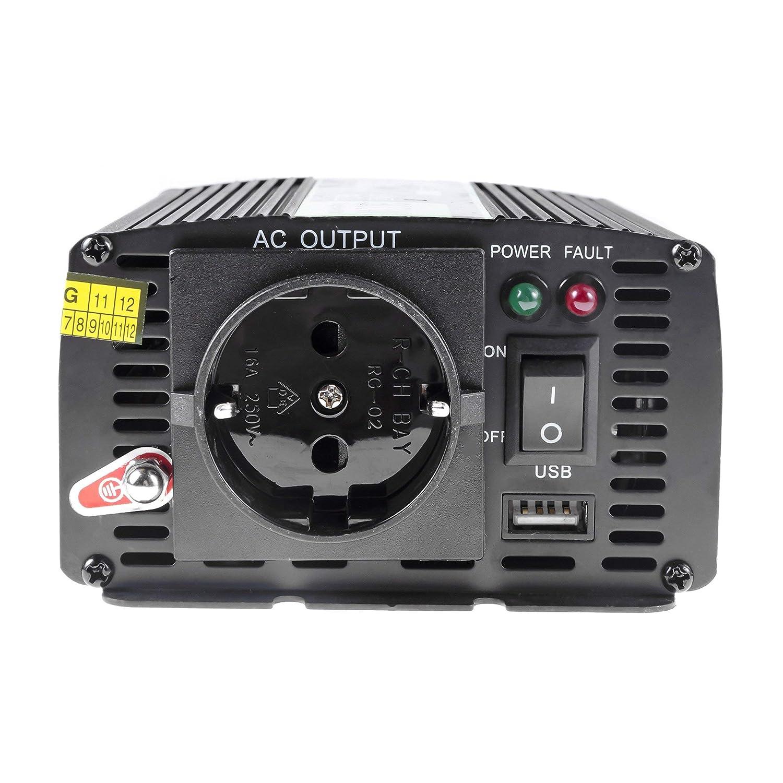 Onduleur Transformateur avec Connection USB et Pinces pour Batterie de Voiture Green Cell/® 300W//600W Modifi/ée Sinus Convertisseur de Tension DC 24V AC 230V Power Inverter sinuso/ïdale