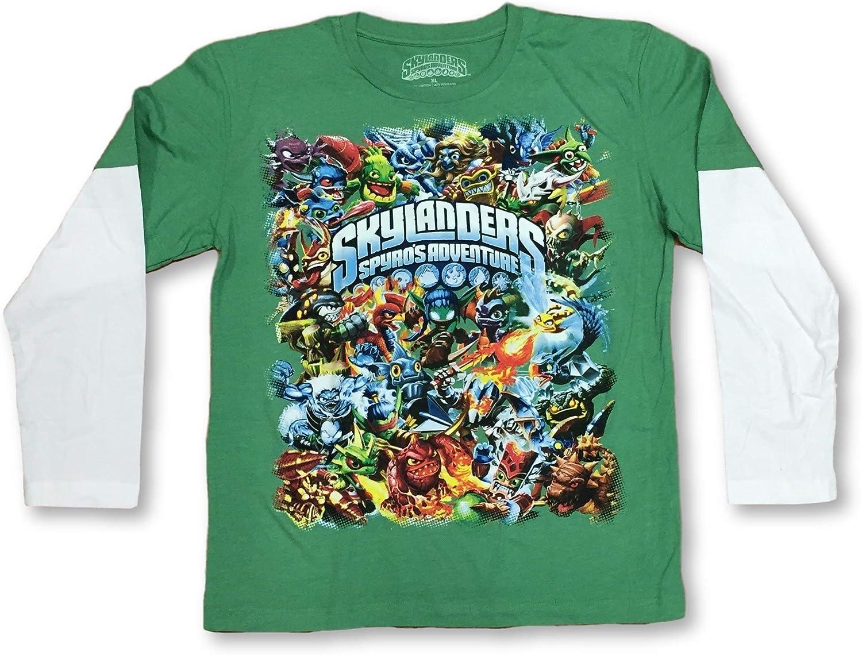 Skylanders Spyros Adventure Boys Long Sleeve Green Layered T-Shirt