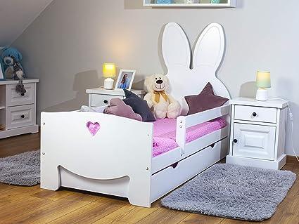 Lulu Möbel Bubby - Cuna completa con colchón de 70 x 140 o 70 x 160 cm, somier de láminas de madera y cajón, para niños a partir de 2 años, para ...