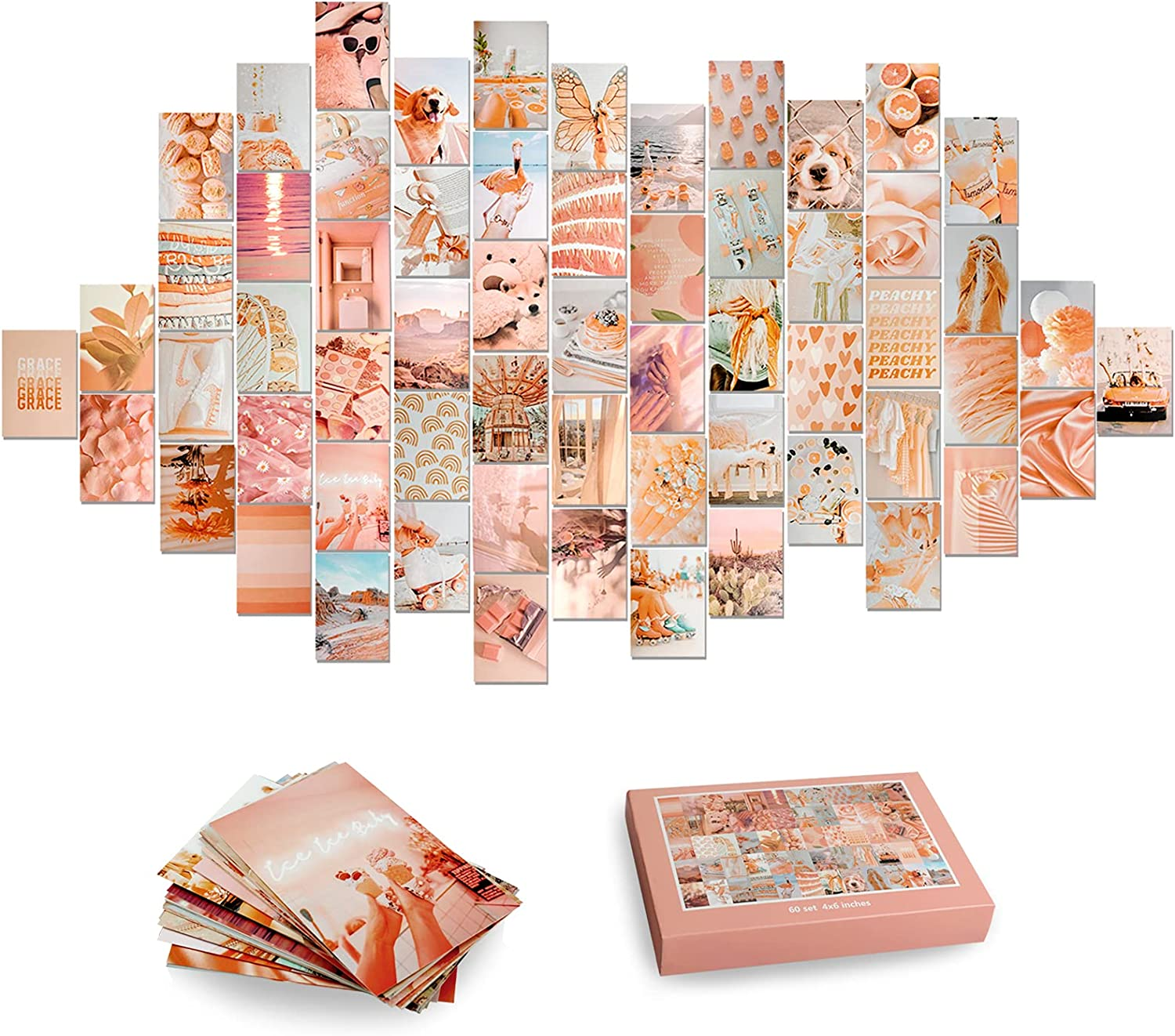 60Pcs Photo Collage kit for Wall Aesthetic Picture 4x6 Inch | Boho Peach Aesthetic Room Decor for Bedroom Aesthetic | Photo Collection Collage Dorm Decor for Teen Girls | Wall Art Beach Collage