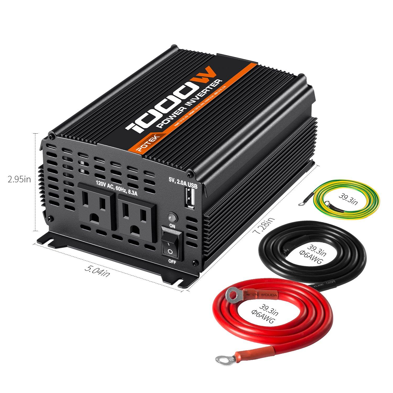 amazon com potek 1000w power inverter dual ac outlets 12v dc to rh amazon com