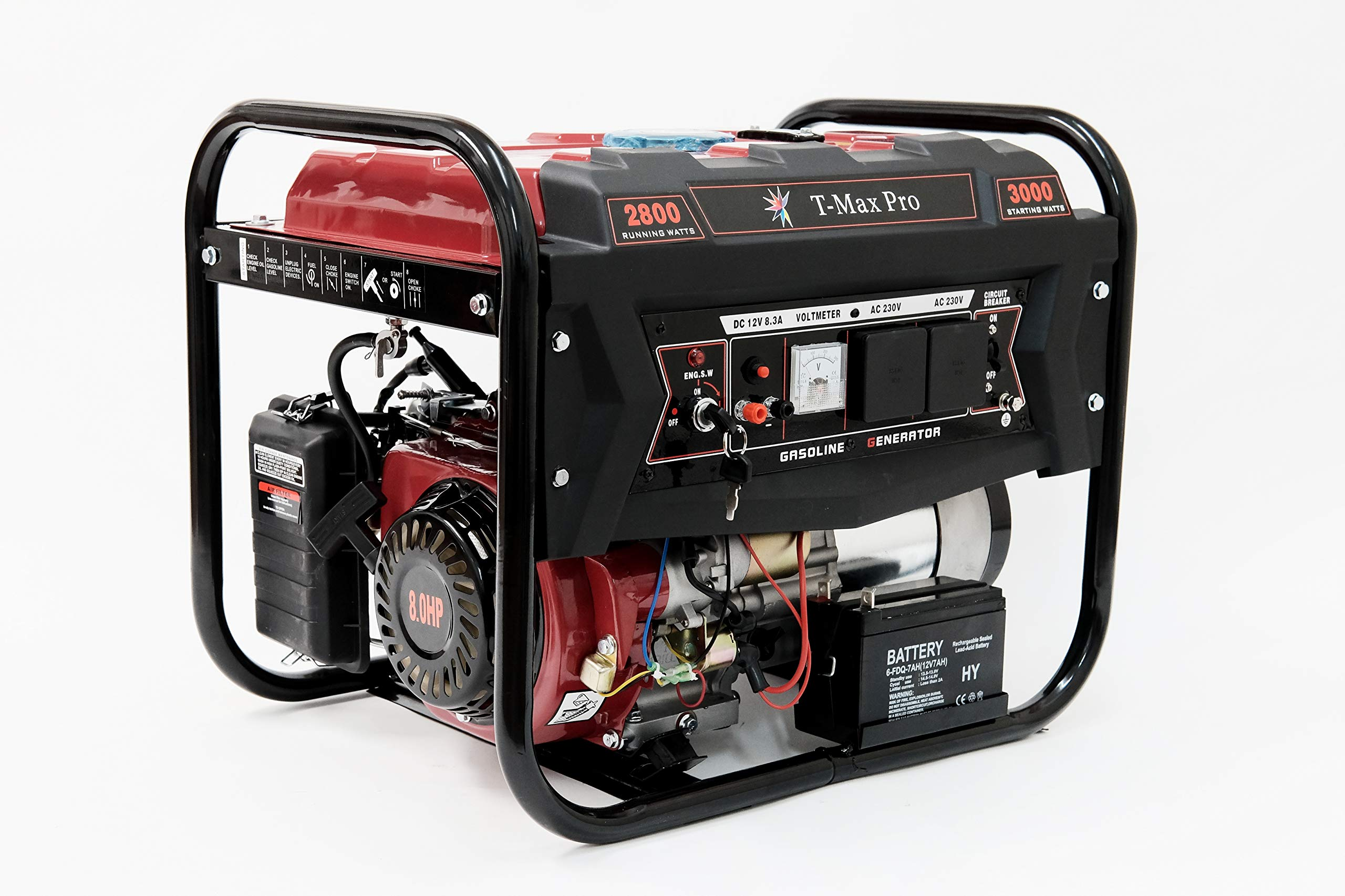 Dealourus T-MAX Portable Petrol Generator 6000W-E ~ 3.4 KVA 8HP ~ Quiet Power Electric Key Start (Electric Key Start/Recoil Start)