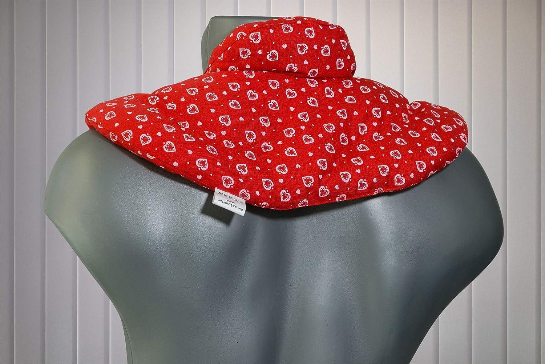 Saco cervical térmico con cuello. Rojo con corazones. Almohada térmica con semillas de colza. Cojín de nuca. Cojín de calor y frio con semillas