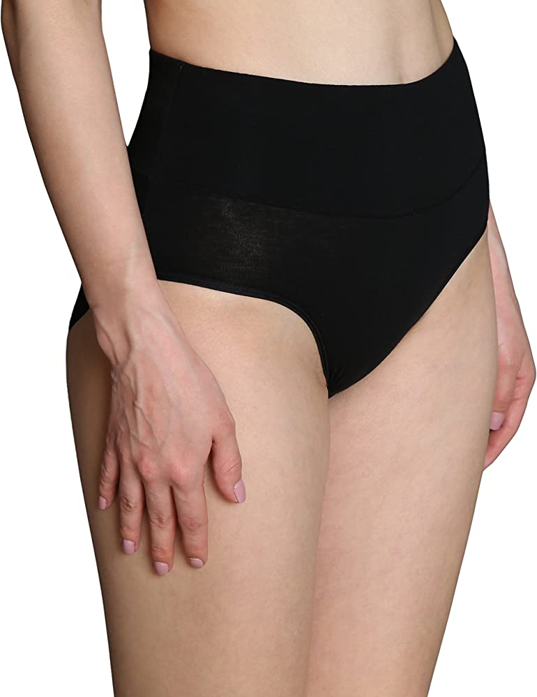 77a5d28dba00 Women's High Cut Solid Color Tummy Control Cotton Underpants Briefs  Multipack. Innersy Women's 5 Pack High Waist ...