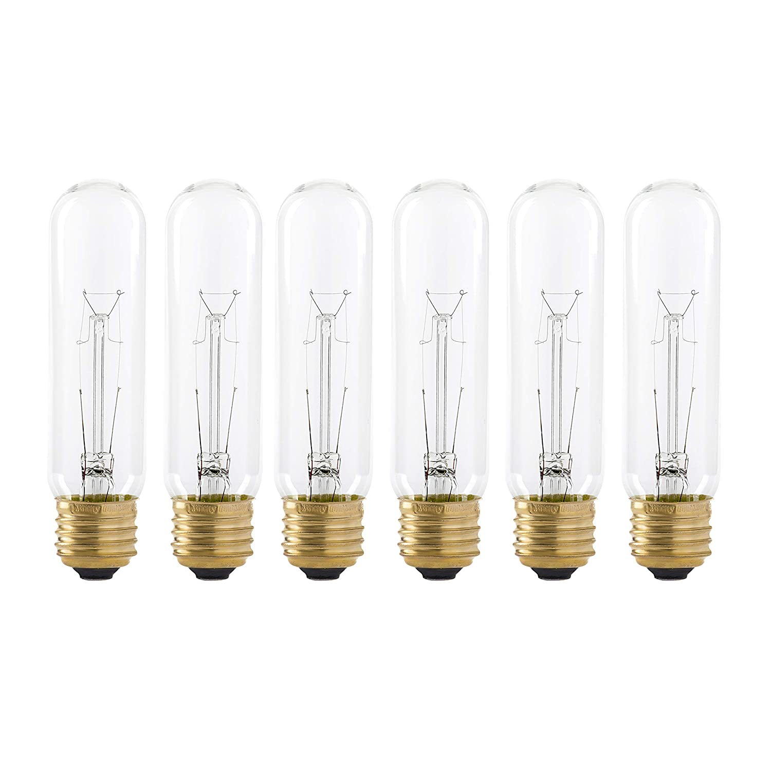 25 Watt T10 Clear Tubular Incandescent Light Bulb, 2700K Soft White, E26 Medium Base, 160 Lumens, 120V, (6 Pack)
