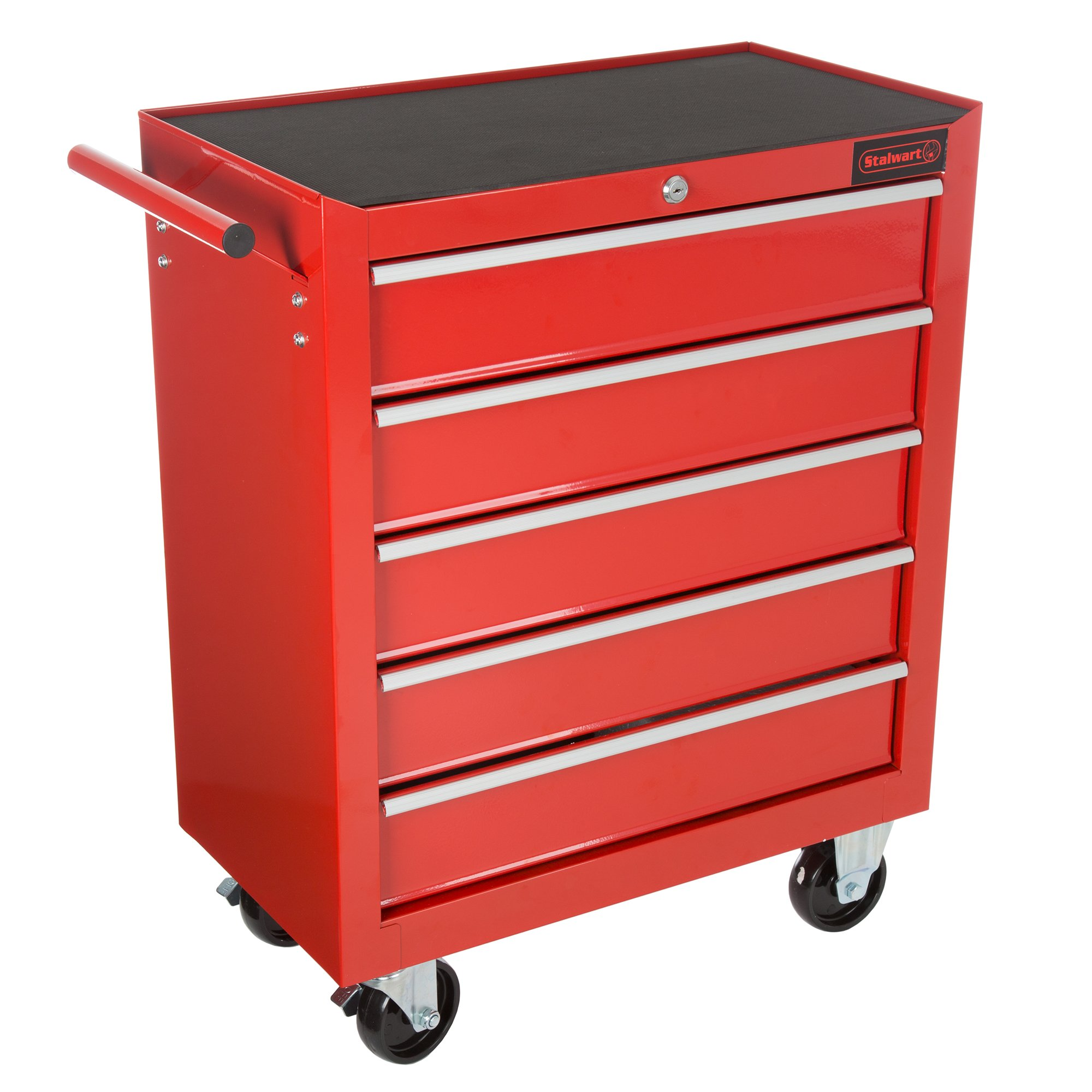 Rolling Tool Box Cabinet, 5 Drawer Portable Storage Chest Tools Organizer With Wheels, Ball Bearing Locking and Sliding Drawers By Stalwart (Red)