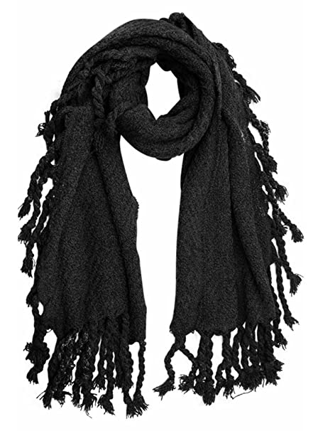 Black Chunky Knit Scarf With Braided Tassel Fringe at Amazon Women\'s ...