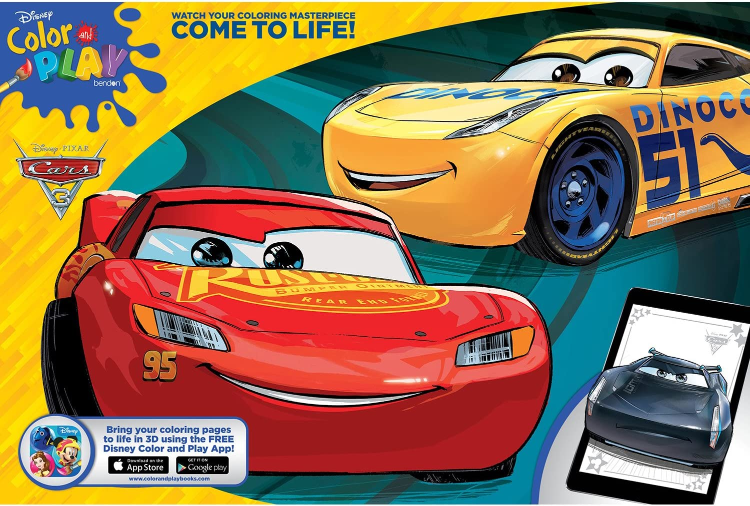 Amazon Com Disney Bendon Cars 3 Giant Coloring And Activity Book