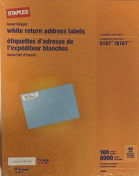 amazon com staples 18056 white return address labels 1 75 x