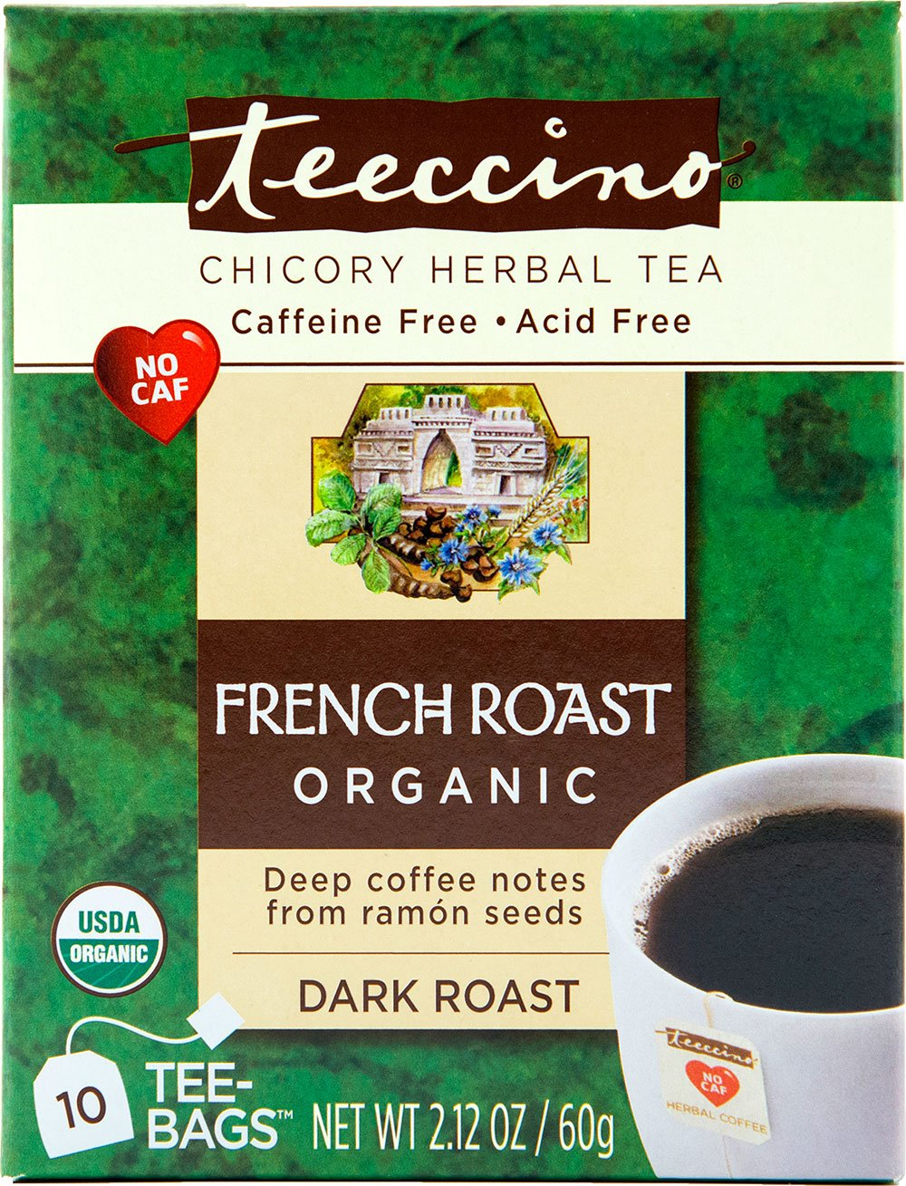 Teeccino French Roast Organic Chicory Herbal Tea Bags, Caffeine Free, Acid Free, 10 Count