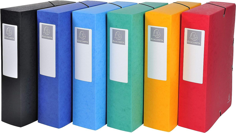 Exacompta 50302E Archivbox 1 St/ück blau Manila Karton, R/ückenetikett, R/ücken 25 mm, 600 g, DIN A4