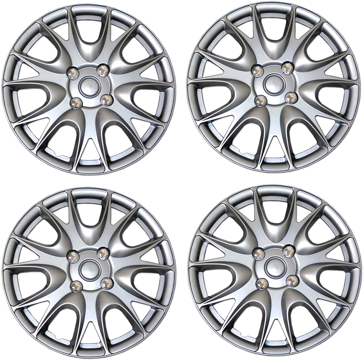 15-Inches Style 611 Snap-On Type Metallic Silver Wheel Covers Hub-caps Pack of 4 Hubcaps Pop-On Tuningpros WC3-15-611-S