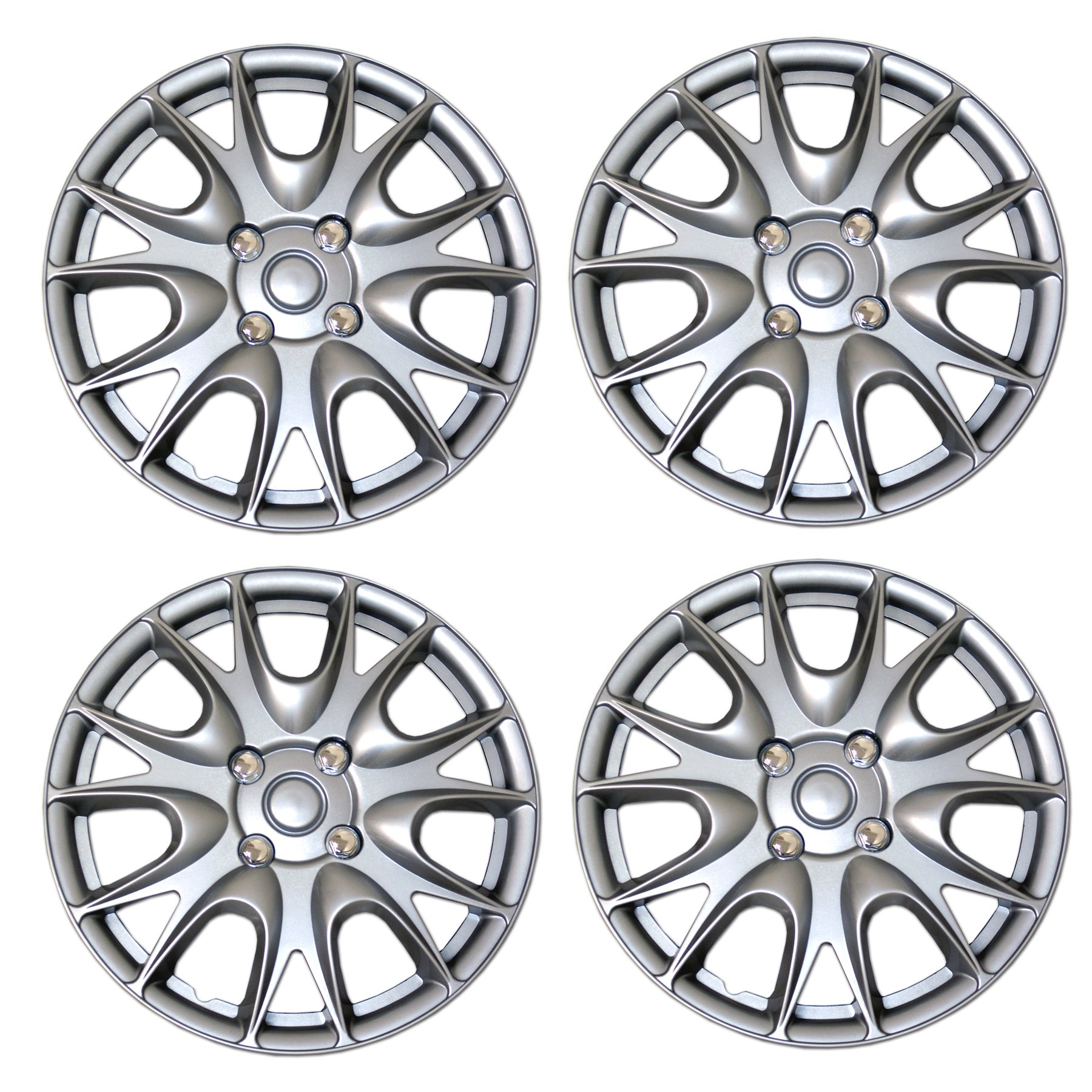 TuningPros WSC3-533S15 4pcs Set Snap-On Type (Pop-On) 15-Inches Metallic Silver Hubcaps Wheel Cover