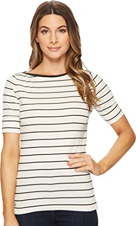 486346751cabc2 Lauren by Ralph Lauren Womens Striped Cotton Boat Neck Top at Amazon Women's  Clothing store: