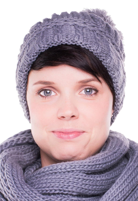Chapeau tricoté Bonnet Emily avec pompon - Ski Chapeau Bonnet de snowboard surdimensionné sport d'hiver 240 + 264 Ladies Hat Bonnet à pompon