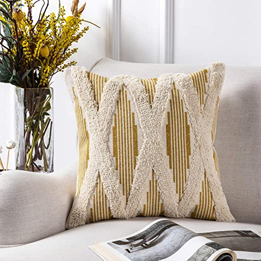 Azume 18 X 18 Inch Boho Tufted Throw Pillow Cover With Tassel Cotton Woven Cushion Cover Tribal Pillow Cover For Living Room Bedroom Office Cushion Bench Couch Sofa Chair Yellow Home