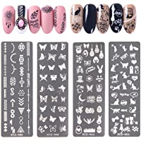 NICENEEDED Nail Art Stempelen Platen Afbeelding Sjabloon Inbegrepen 4 Stks Nagelplaten Nail Stamp Sjablonen met Dieren…