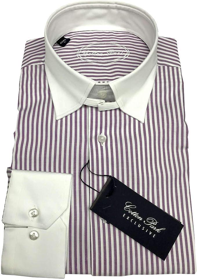 Cotton Park – Camisa con Cuello inglés, diseño de Rayas, para Hombre Morado Medium: Amazon.es: Ropa y accesorios
