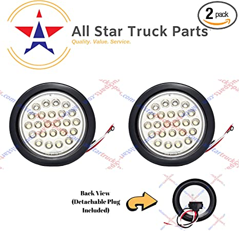 Qty 2-4 Inch 12 LED Round Stop//Backup//Reverse Truck Tail Light Kit All Star Truck Parts