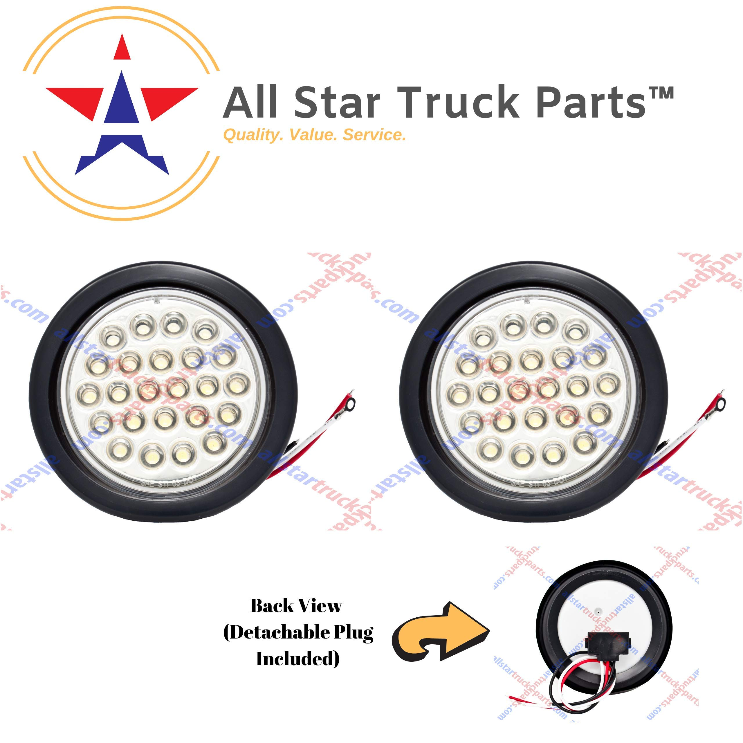 [ALL STAR TRUCK PARTS] 4'' Inch White 24 LED Round Reverse/Backup/Tail Trailer Light Kit with 3 wire Pigtail Plug & Grommet- Qty 2 by All Star Truck Parts