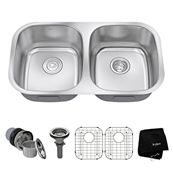 kraus kbu22 32 inch undermount 50 50 double bowl 16 gauge stainless steel kitchen sink kraus kbu22 32 inch undermount 50 50 double bowl 16 gauge      rh   amazon com