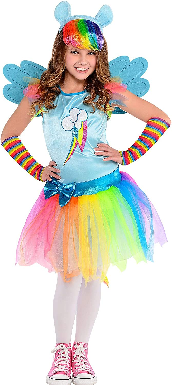 Costumes USA My Little Pony Rainbow Dash Costume for Girls, Includes a Dress, Wings, Arm Warmers, and More