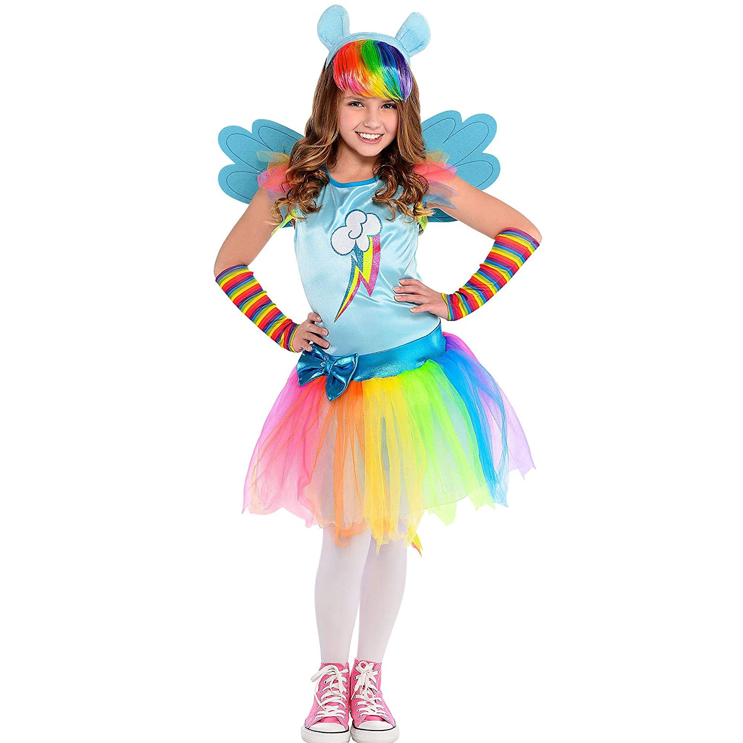 My Little Pony Tutu Costume Dress Rainbow Dash Tail Headband Arm Warmers Large 12-14