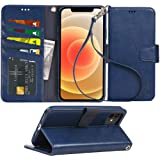 Arae Compatible with iPhone 12 Case and iPhone 12 Pro Case Wallet Flip Cover with Card Holder and Wrist Strap - Blue