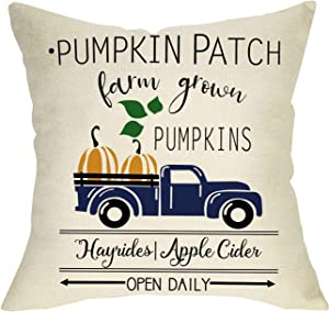 FBCOO Pumpkin Patch Decorative Throw Pillow Cover, Farmhouse Pumpkins Vintage Truck Fall Cushion Case Decor Sign, Welcome Autumn Seasonal Home Decorations Square Pillowcase 18 x 18 for Sofa Couch