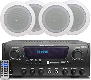 2-Ch 1000 Watts Bluetooth Home Amplifier System Receiver w/USB and SD (Qty 4) 5.25 Flush Mount in-Wall/in-Ceiling Stereo Speakers