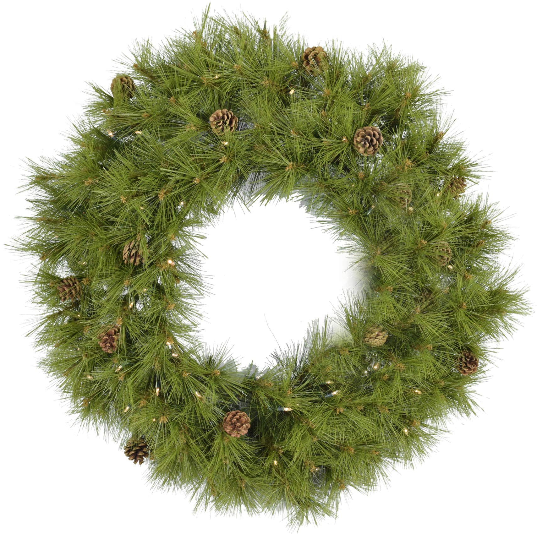 Fraser Hill Farm 36-in. Eastern Pine Artificial Holiday Wreath with Clear Battery-Operated LED String Lights, FFEP036W-5GRB Christmas Decoration, Green