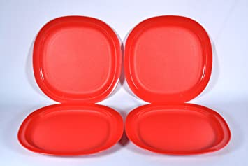 Tupperware 8 Inch Square Plates in Red (Four) & Amazon.com | Tupperware 8 Inch Square Plates in Red (Four): Luncheon ...