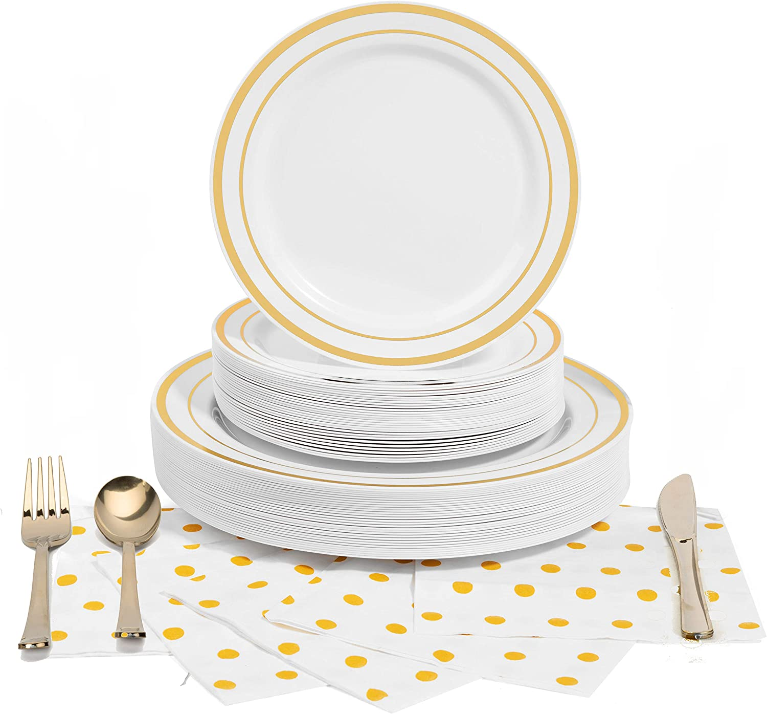 180 Pcs Serves 30, Gold Party Supplies Set | Reusable | No Flimsy Plates Or Weak Cutlery | Gold Trim Disposable Plastic Dinnerware | Includes Dinner Plates, Dessert Plates, Cutlery & 3-Ply Napkins