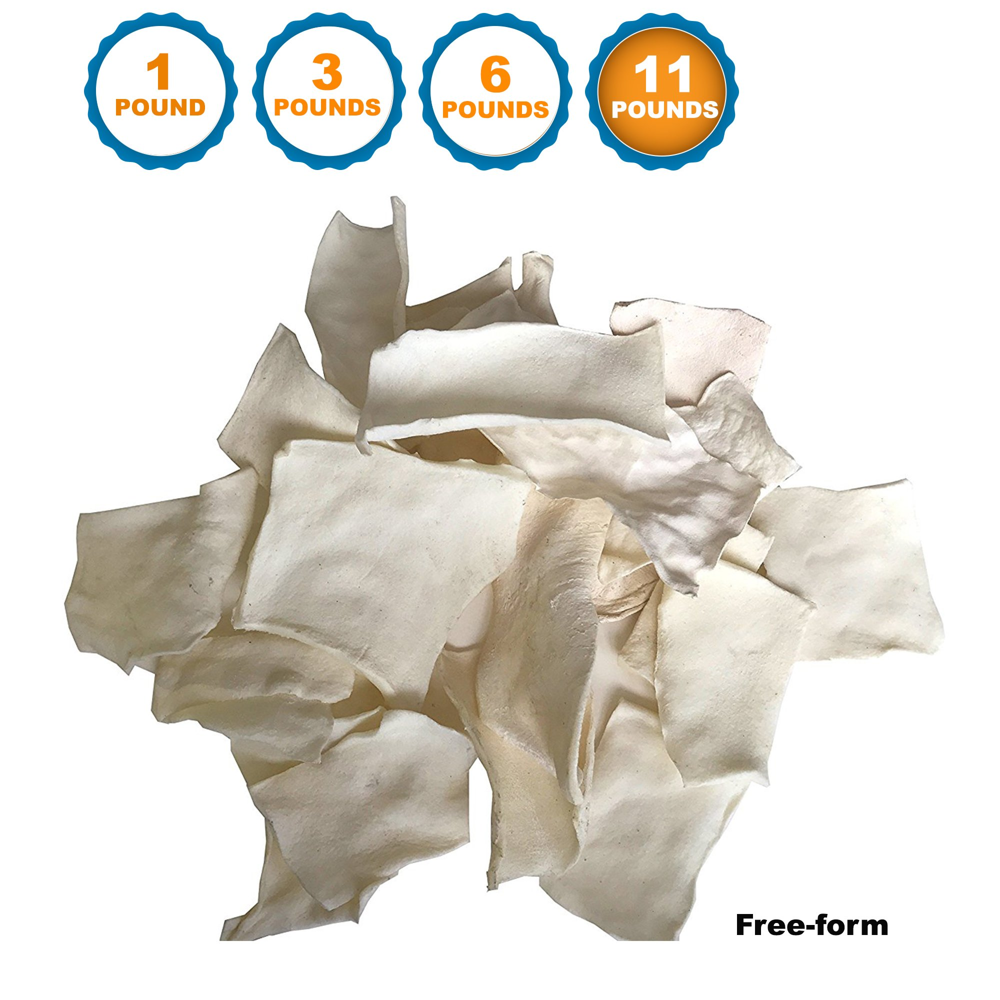123 Treats - Rawhide Chips Dog Treats Free-Form for Dogs | Quality Bulk Beef Hide Dog Chews - No Additives, Chemicals or Hormones from Natural Grass Fed Livestock (11 LBS - Free-Form) by 123 Treats