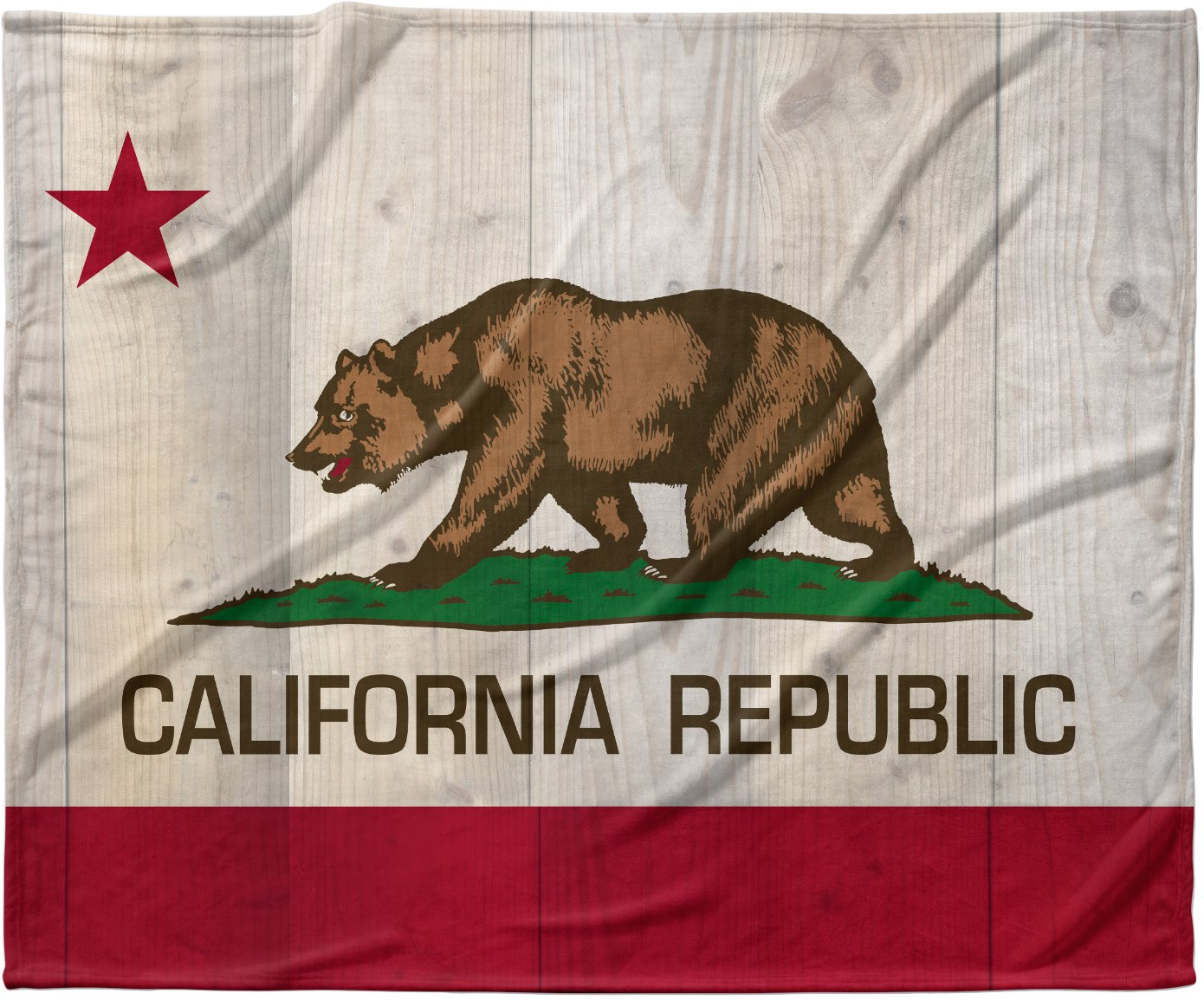 KESS InHouse Bruce Stanfield ''California Flag Wood'' Brown Fleece Baby Blanket, 40'' x 30''