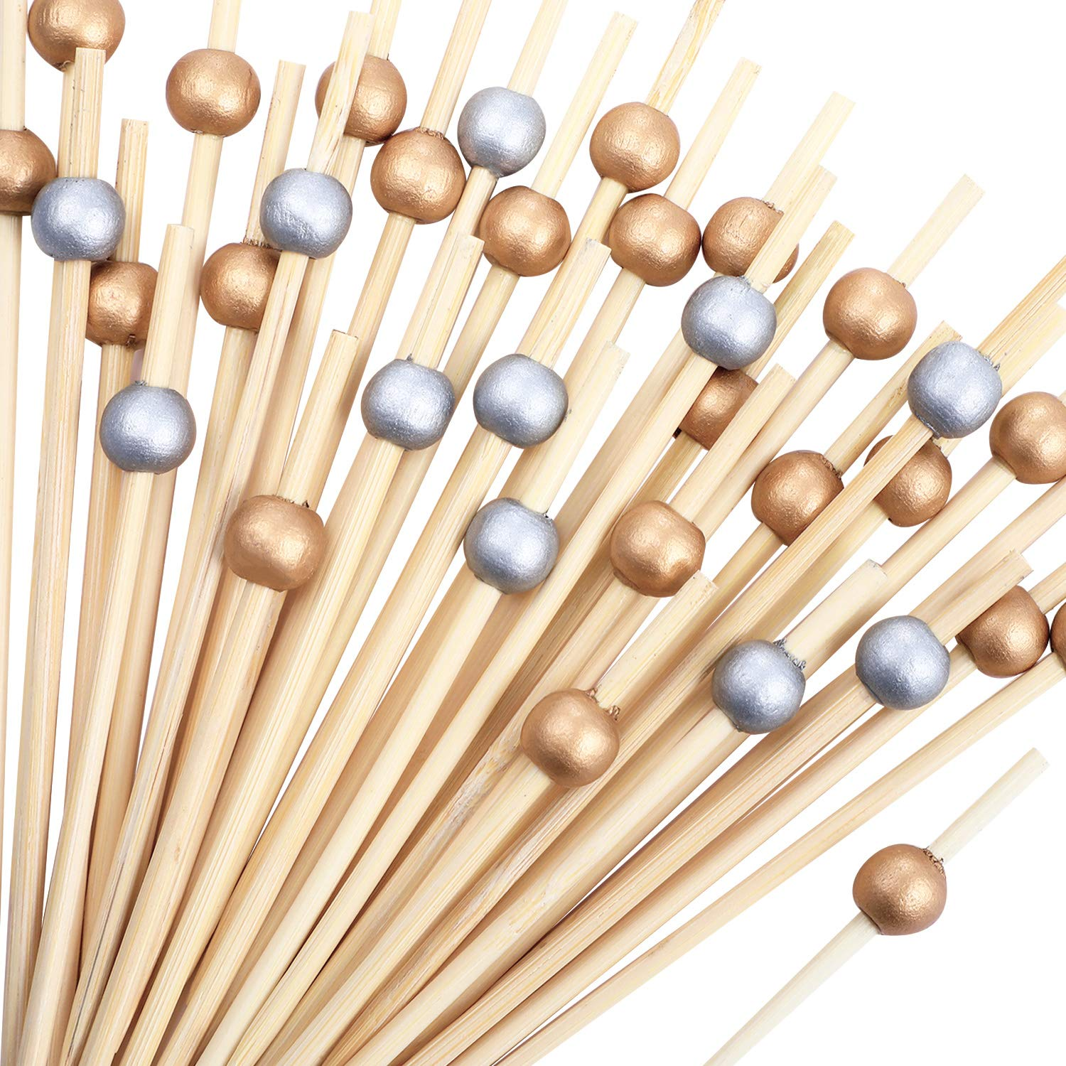 Gold 1 and Silver 1 Blulu 200 Pieces Cocktail Picks 4.7 Inch Fruit Sticks Pearl Bamboo Toothpicks for Wedding Birthday Party Supplies