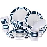 GEEZY 16 Piece Melamine Camping Caravan Picnic Outdoor Dining Dinner Plate Set