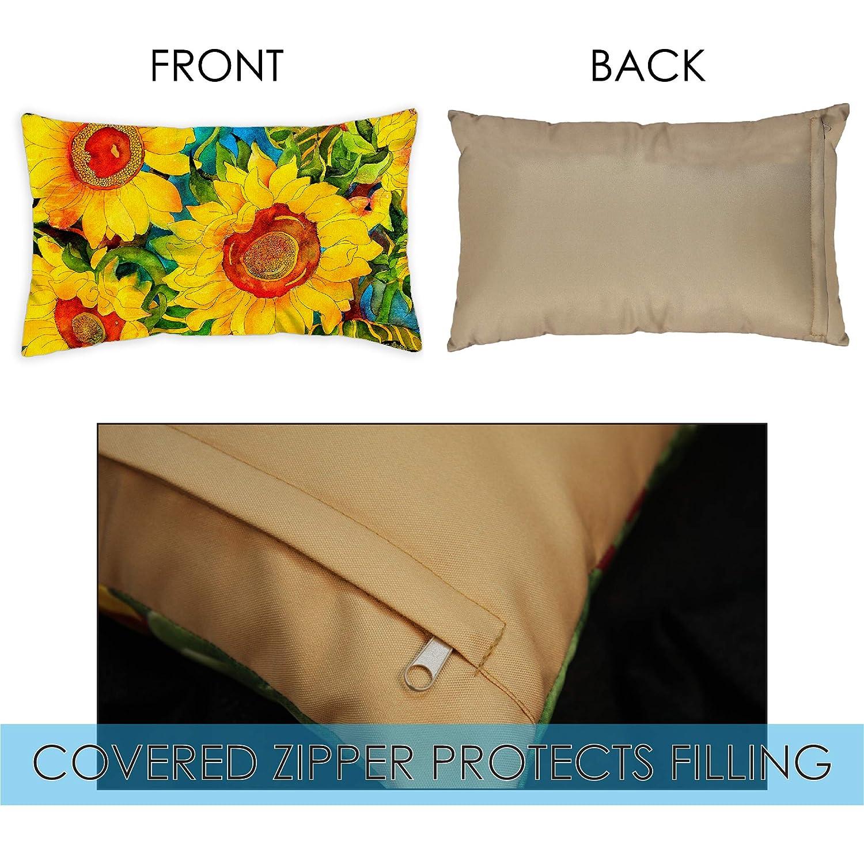 Case Pillow 2-Pack Toland Home Garden Sunny Sunflowers 12 x 19 Inch Indoor//Outdoor