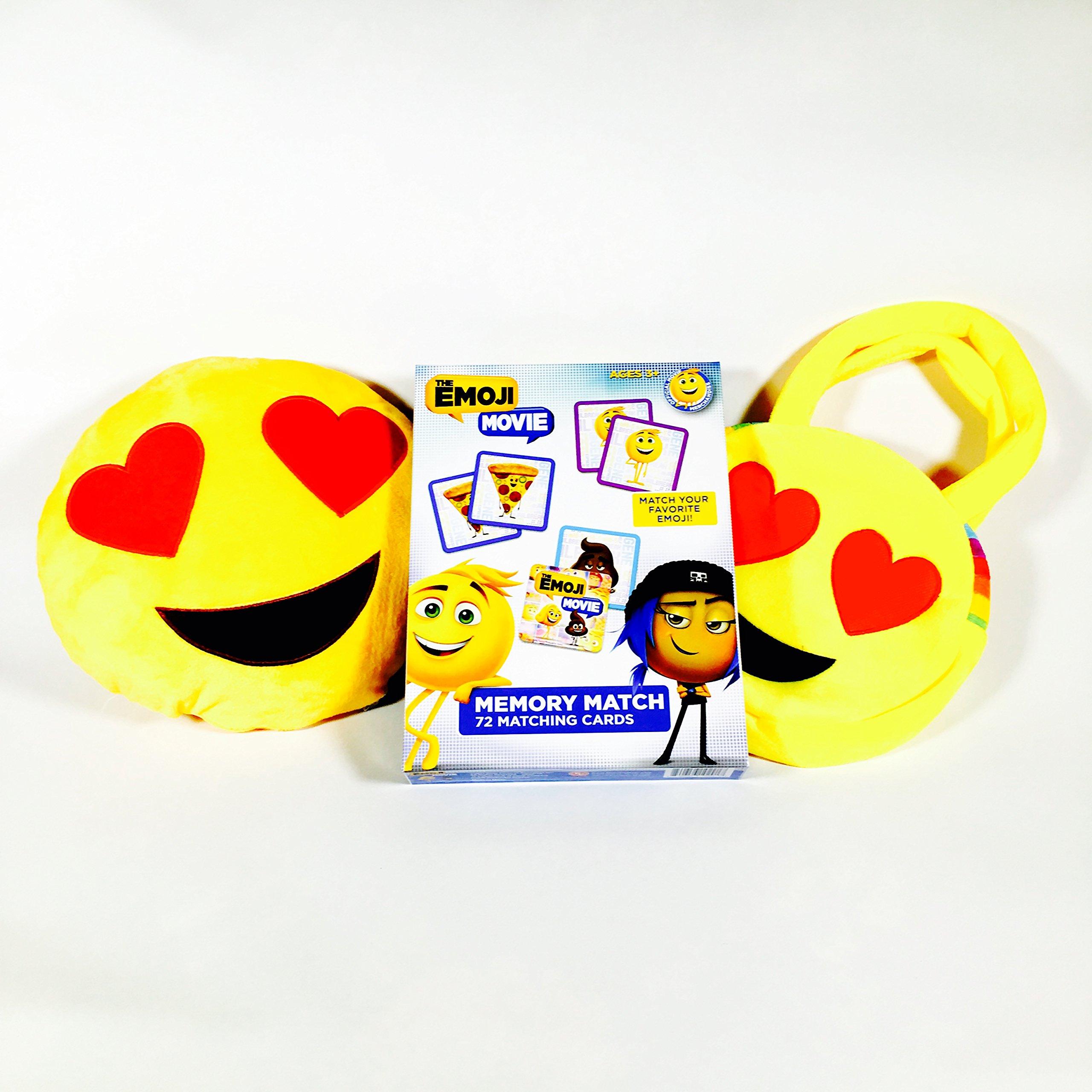 Emoji: Heart Eyes Speaker Pillow, Handbag, and Memory Match Card Game Bundle