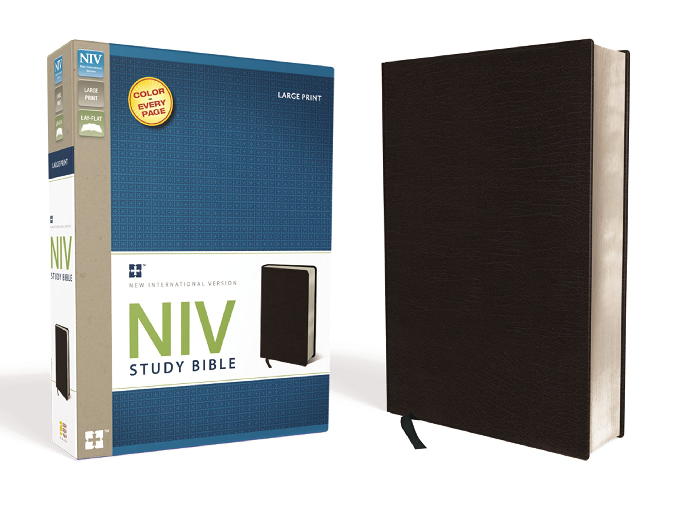 NIV Study Bible, Large Print, Bonded Leather, Black, Red Letter Edition